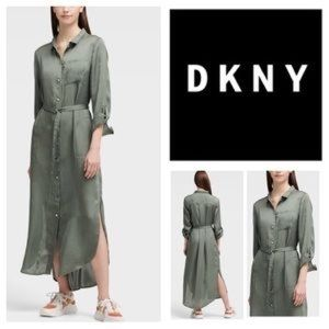 Dkny Belted Maxi Shirtdress